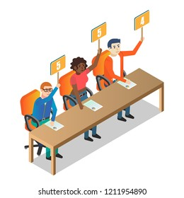 Jury judges holding scorecards. Vector isometric illustration. People holding tablets with numbers. Competition, quiz, exam concept.