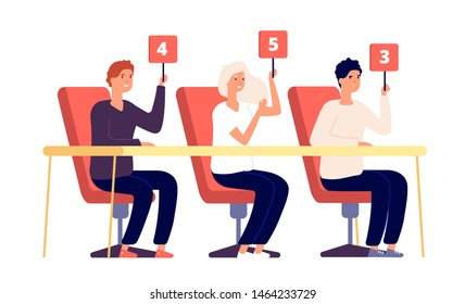 Jury judges. People holding scorecard with numbers, evaluation show competition. Voting verdict, jury contest rating vector concept. Jury competition scorecard, committee man and woman showing rating
