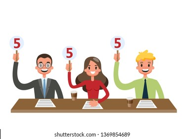 Jury sitting at the desk and showing scorecards. Professional estimation on the contest. People holding sign with rating. Isolated vector illustration in cartoon style