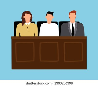 Jury in trial. Man and woman sitting in court. Trial of justice law, legal judgment. Vector illustration
