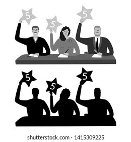 Jury vector illustration. Monochrome show judging and jury silhouettes isolated on white background