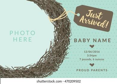 Just Arrived birds nest announcement