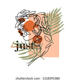 Just be nice slogan with girl face illustration
