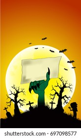 Just Halloween party poster with zombie moon hands