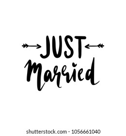 Just Maried - Vector hand drawn lettering phrase. Modern brush calligraphy for blogs and social media. Motivation and inspiration quotes for photo overlays, greeting cards, t-shirt print, posters.