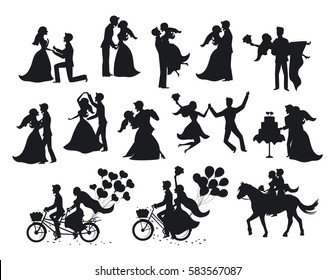 Just married bride and groom silhouettes set. Happy Couple celebrating marriage, dancing, kissing, hugging, holding each other in arms, cut cake, riding bike and horse, jumping after ceremony