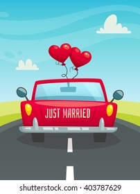 Just married car with balloons on the road, back view, wedding concept, cartoon vector illustration