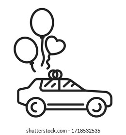 Just married car black line icon. Auto with balloons. Isolated vector element. Outline pictogram for web page, mobile app, promo.