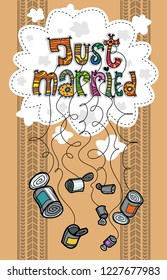 Just married card with cans