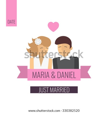 just married couple template wedding card flat design vector illustration