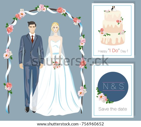 Just Married Couple Vector Illustration Bride Stock Vector Royalty