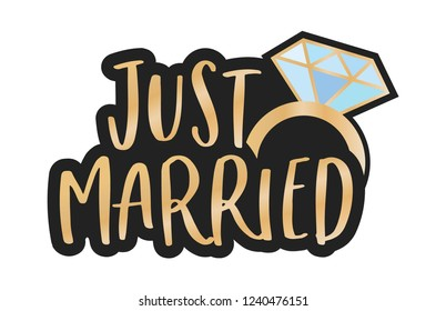 Just Married Diamond Ring Vector Isolated Sign Banner Illustration Background