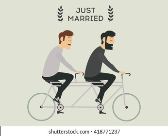 Just married gay wedding couple riding bicycle