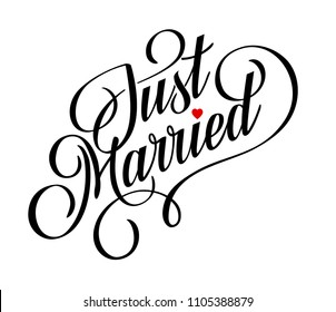 'Just Married' hand lettering