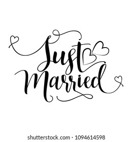 Just Married - lovely vector typography with hearts. Good for wedding decorations, cards, invitations.