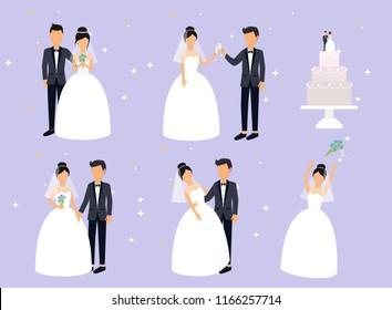 Just married , newlyweds, bride and groom set. Bride and groom. Wedding design. Vector illustration.