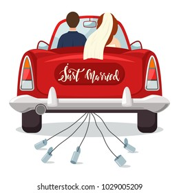 Just married red car with the bride and groom. Wedding vector illustration with a newlywed couple isolated on a white background.