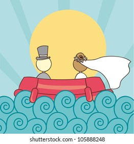 just married with ship with sea and sun. vector illustration