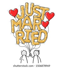 JUST MARRIED stick figure couple holding golden balloon letters, two men, gay couple