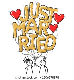 JUST MARRIED stick figure couple holding golden balloon letters, two women, gay couple