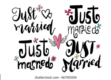 just married templates, labels, card. Wedding invitation with hand drawn lettering, flowers in simple style, Isolated