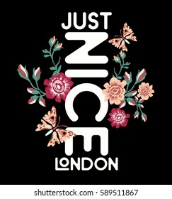 JUST NICE LONDON.Flowers and typography embroidery work
