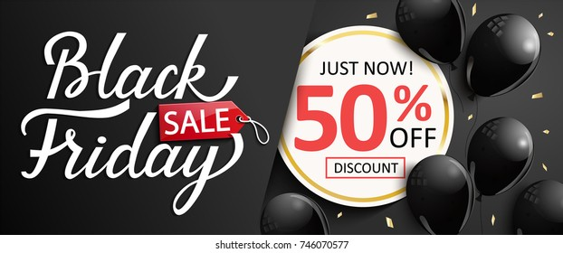 Just now discount banner for black friday. Sale card for sellers with shiny balloons. Vector illustration.