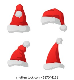 Just red christmas santa hat at white background. Cold x-mas symbol fluffy