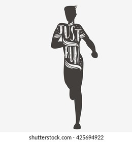 Just run. Sport/Fitness typographic poster. Running man. Motivational and inspirational illustration. Lettering. For logo, T-shirt design, banner, poster or fitness club.