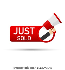 just sold icon. Vector stock illustration.