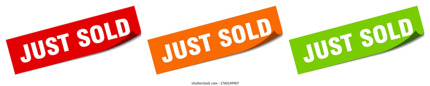 just sold sticker. just sold square isolated sign. just sold label
