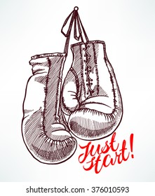 just start. sketch boxing gloves. hand-drawn illustration