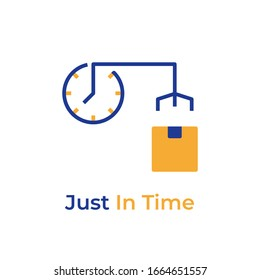 Just In Time color icon. Vector pictogram. Just In Time symbol. Button for web page, mobile app, promo, UI/UX user interface