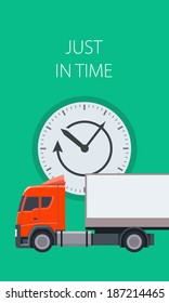 Just in time, truck and clock composition. Modern flat design elements and icons. EPS10 vector.