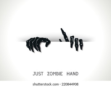 Just web and printing template with 3D zombie hands from the slit. Vector eps 10