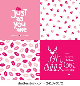 Just as you are love message typography cover design for valentine and seamless hearts and lips illustration background pattern in vector