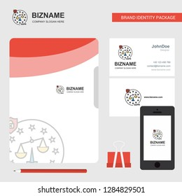 Justice Business Logo, File Cover Visiting Card and Mobile App Design. Vector Illustration