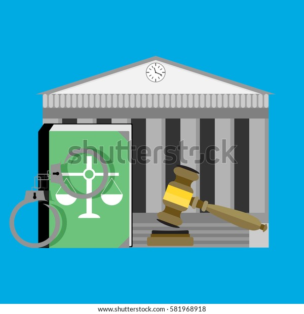 Justice concept courthouse. Law legal, punishment and authority, constitution book, vector illustration