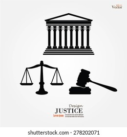 Justice court building image with scales of justice and gavel.vector illustration.