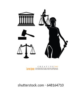 Justice court building image with scales of justice , gavel and lady of justice.vector illustration.