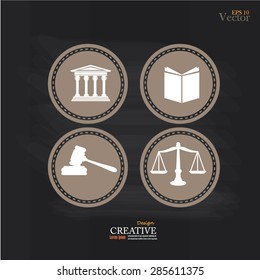 Justice court building   with scales of justice ,book and gavel on chalkboard.vector illustration.