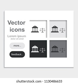 Justice court building with scales of justice placed on web page template flat vector icon.