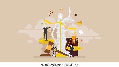 Justice Courtroom Tiny People Character Concept Vector Illustration, Suitable For Wallpaper, Banner, Background, Card, Book Illustration, Web Landing Page, and Other Related Creative