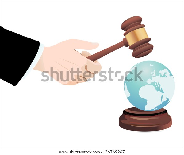 Justice Gavel with Earth Globe on a white background