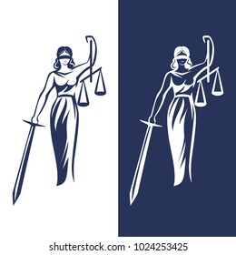 Justice Goddess Themis, lady justice Femida. Stylized contour vector. Blind woman holding scales and sword.