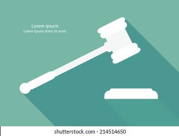 Justice hammer flat design vector.