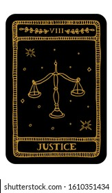 Justice. Hand drawn major arcana tarot card template. Tarot vector illustration in vintage style with mystic symbols, crystals and line art stars. Witchcraft concept for tarot readers