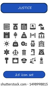 justice icon set. 25 filled justice icons.  Simple modern icons about  - Jail, Scale, Equalizer, Auction, Weight, Police line, Courthouse, Balance, Witness, Police, Sheriff, Tribune