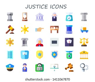 justice icon set. 30 flat justice icons.  Collection Of - column, guillotine, courthouse, judge, scale, auction, sheriff, decree, punishment, Prison, weight scale, equal, columns