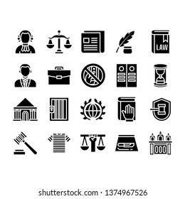 Justice icon set with glyph style vector illustration